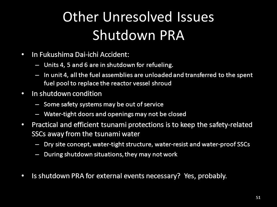 Other Unresolved Issues Shutdown PRA