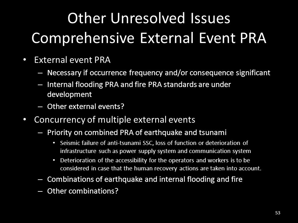 Other Unresolved Issues Comprehensive External Event PRA
