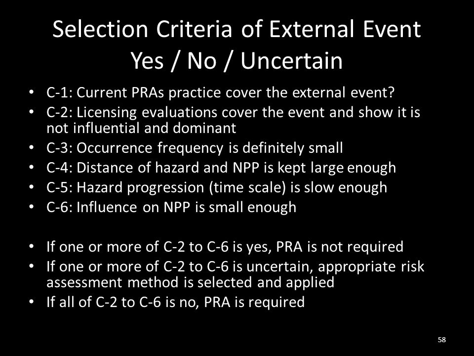 Selection Criteria of External Event Yes / No / Uncertain