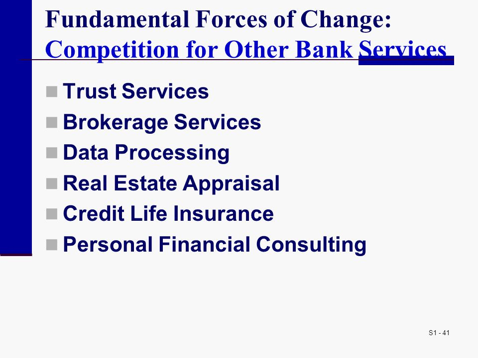 Fundamental Forces of Change: Competition for Other Bank Services