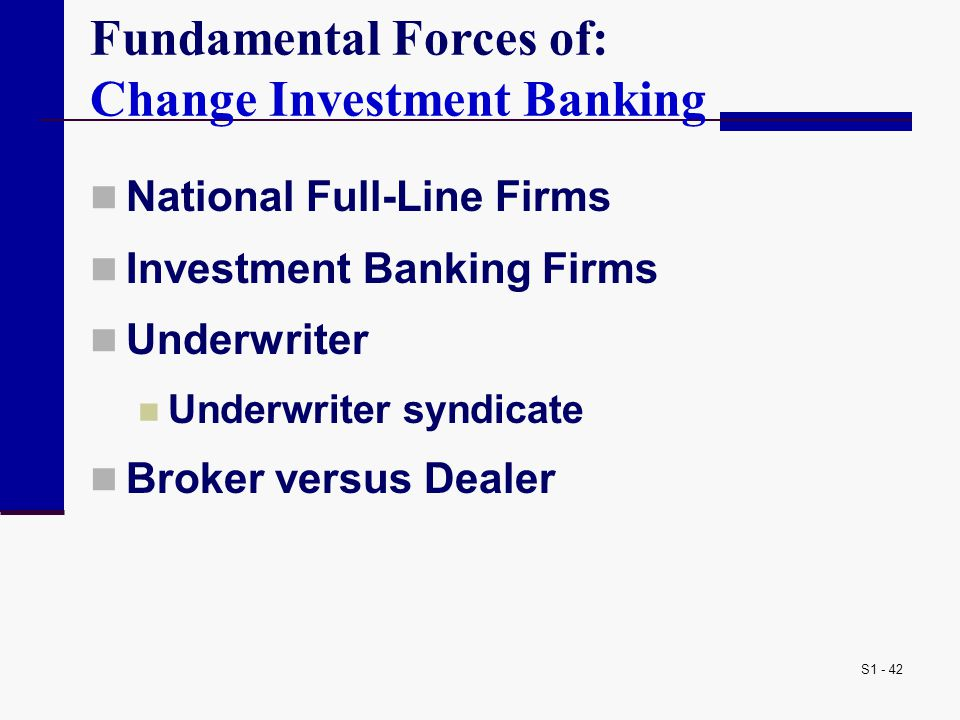 Fundamental Forces of: Change Investment Banking