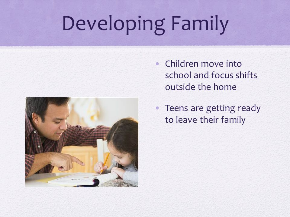 Developing Family Children move into school and focus shifts outside the home.