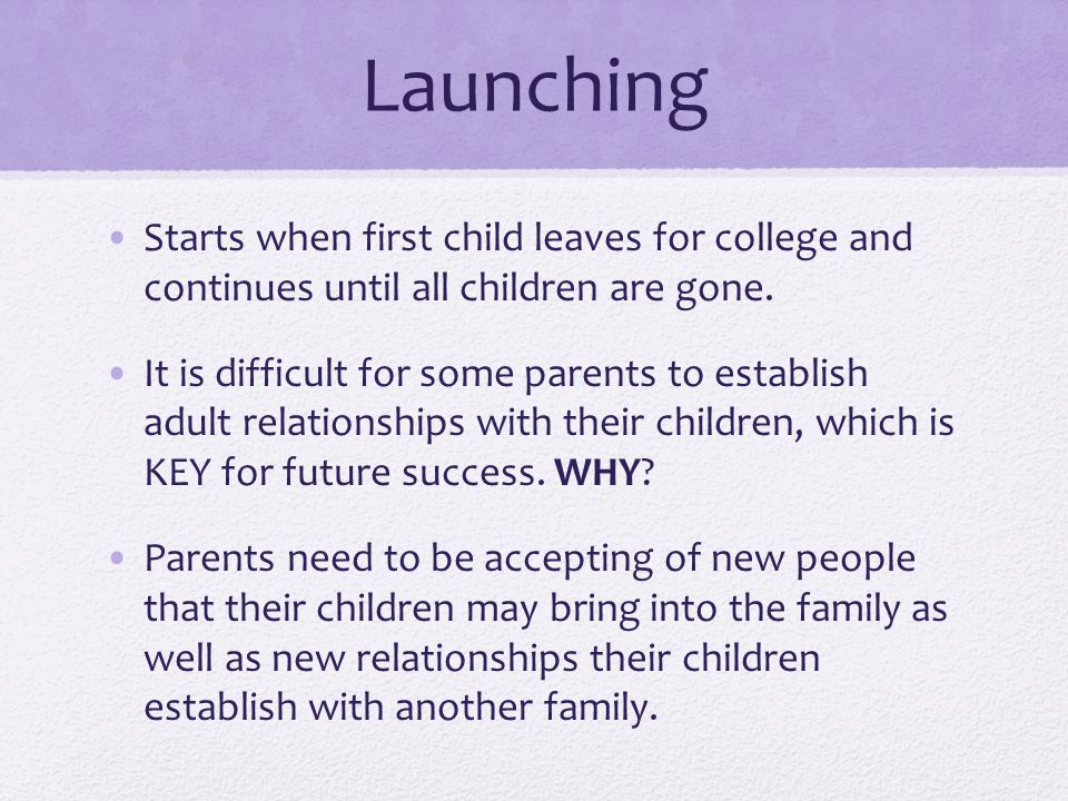 Launching Starts when first child leaves for college and continues until all children are gone.
