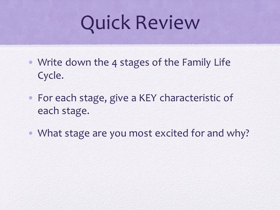 Quick Review Write down the 4 stages of the Family Life Cycle.