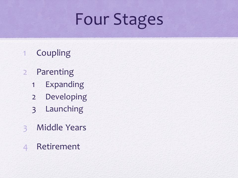 Four Stages Coupling Parenting Middle Years Retirement Expanding