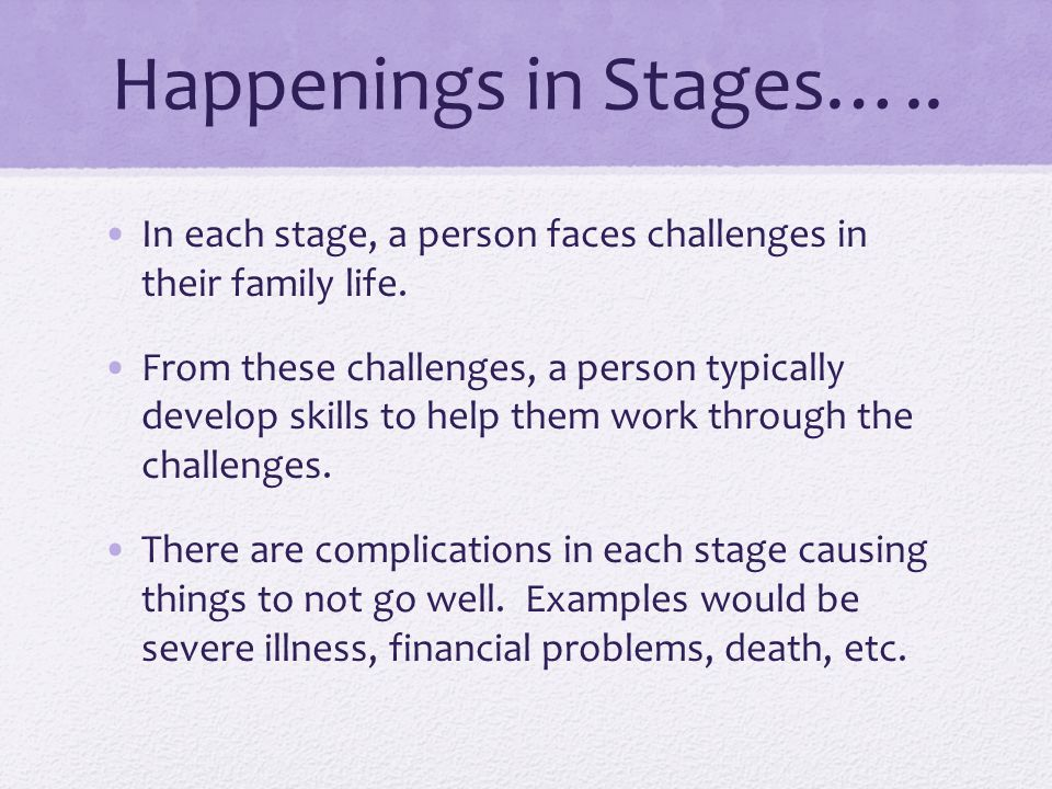 Happenings in Stages….. In each stage, a person faces challenges in their family life.