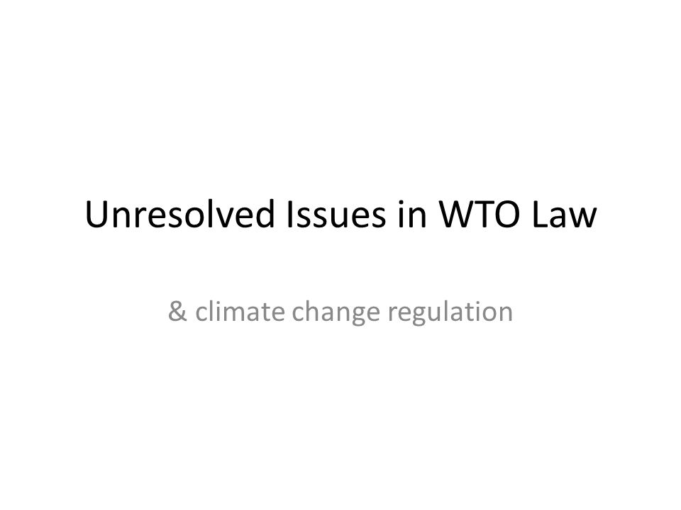 Unresolved Issues in WTO Law