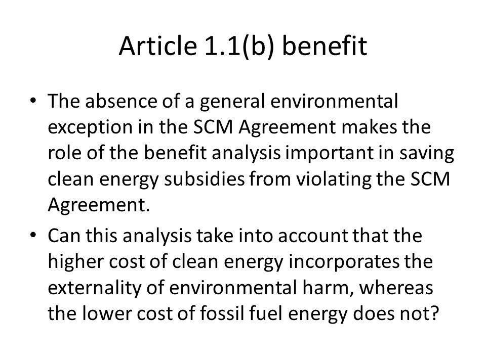 Article 1.1(b) benefit