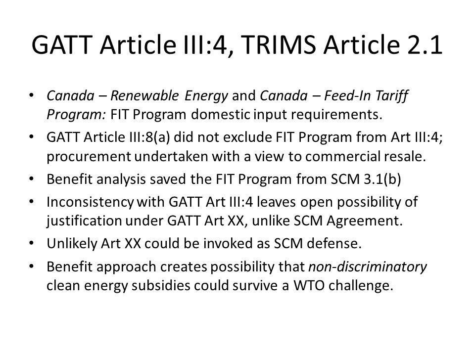 GATT Article III:4, TRIMS Article 2.1