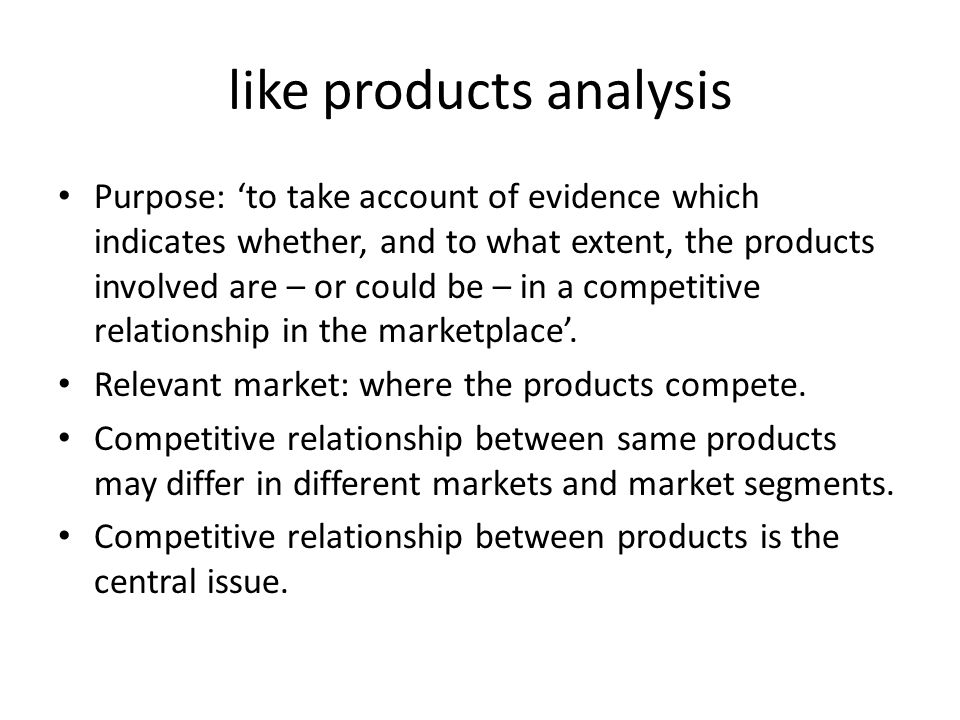 like products analysis