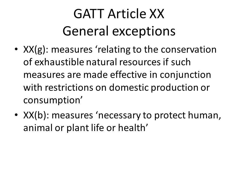 GATT Article XX General exceptions