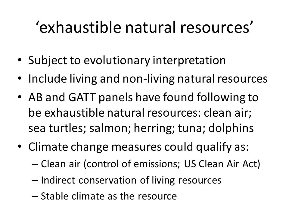'exhaustible natural resources'