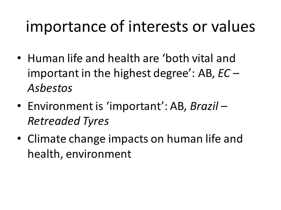 importance of interests or values