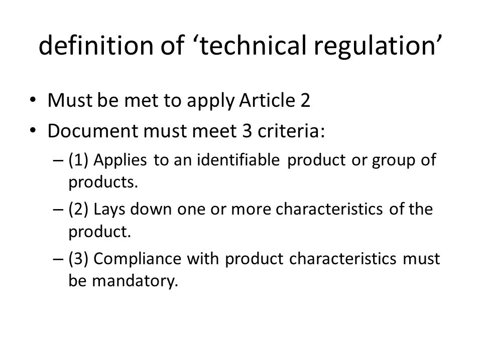 definition of 'technical regulation'