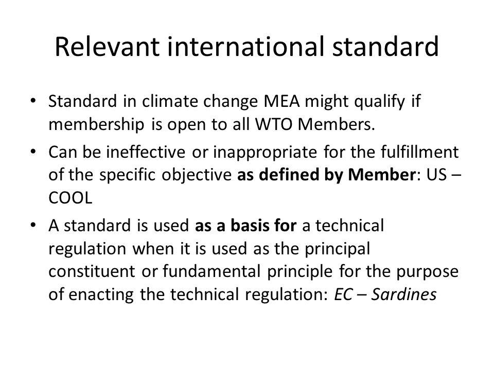 Relevant international standard