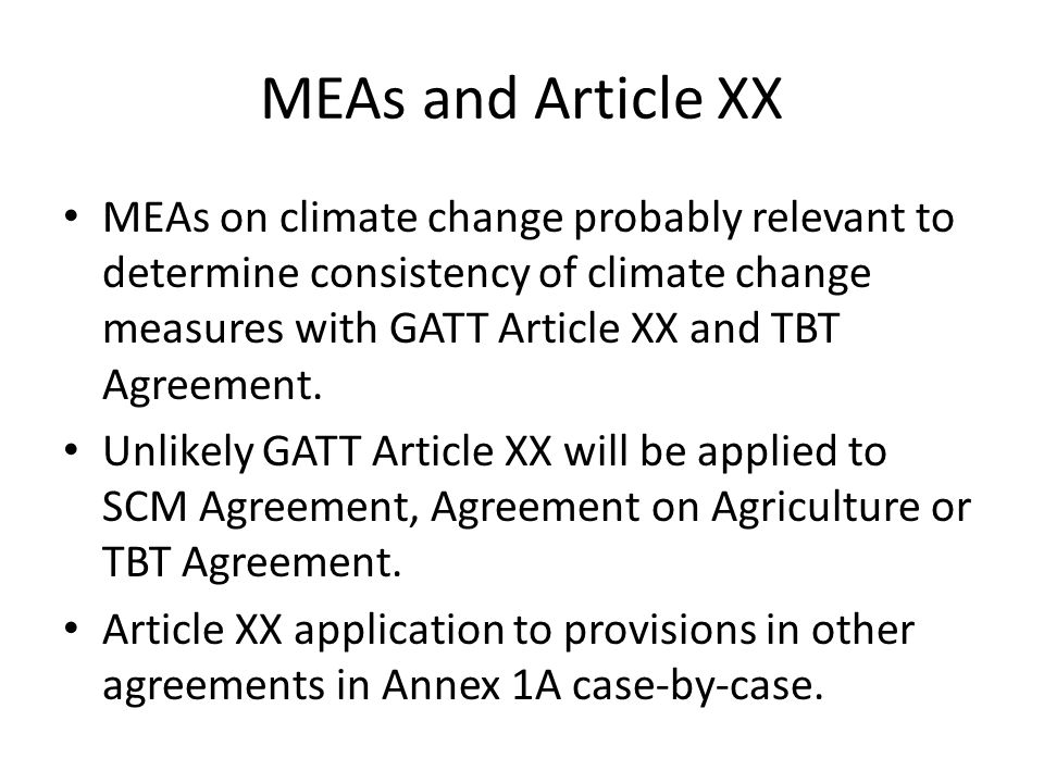 MEAs and Article XX