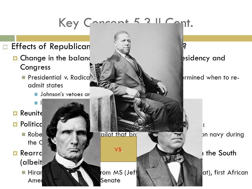 Key Concept 5.3 II Cont. Effects of Republicans to reconstruct the South Change in the balance of power between the Presidency and Congress.