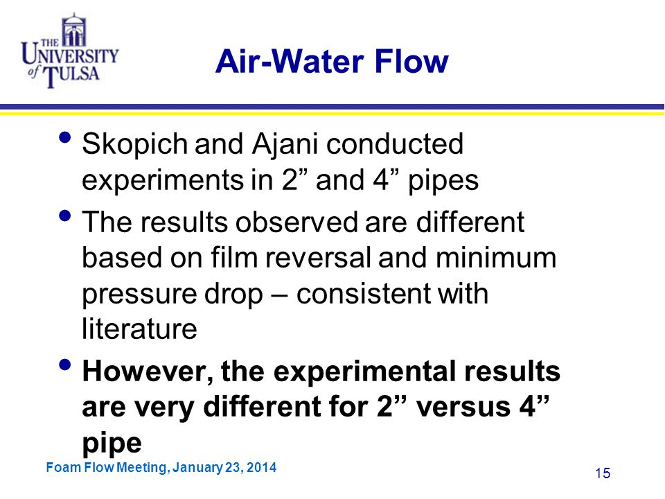 Air-Water Flow Skopich and Ajani conducted experiments in 2 and 4 pipes.