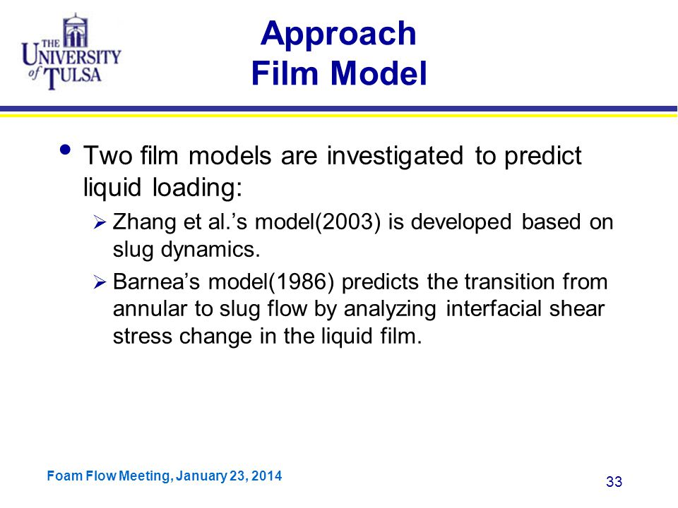 Approach Film Model Two film models are investigated to predict liquid loading: Zhang et al.'s model(2003) is developed based on slug dynamics.