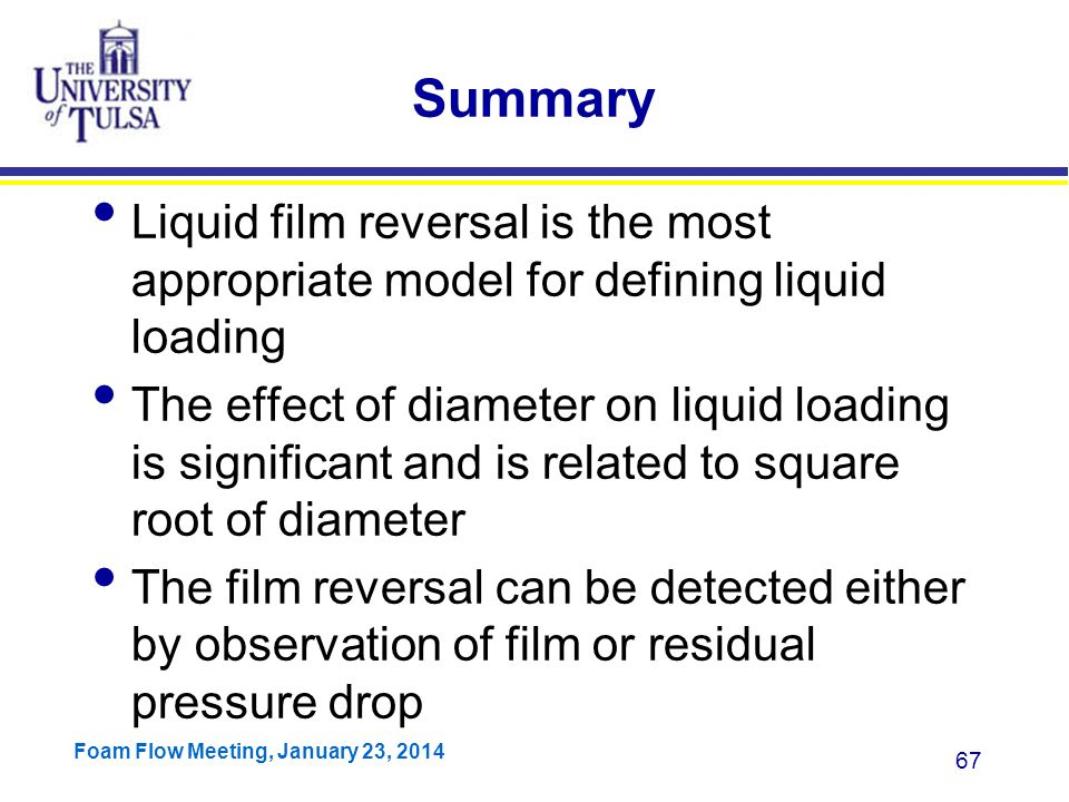 Summary Liquid film reversal is the most appropriate model for defining liquid loading.