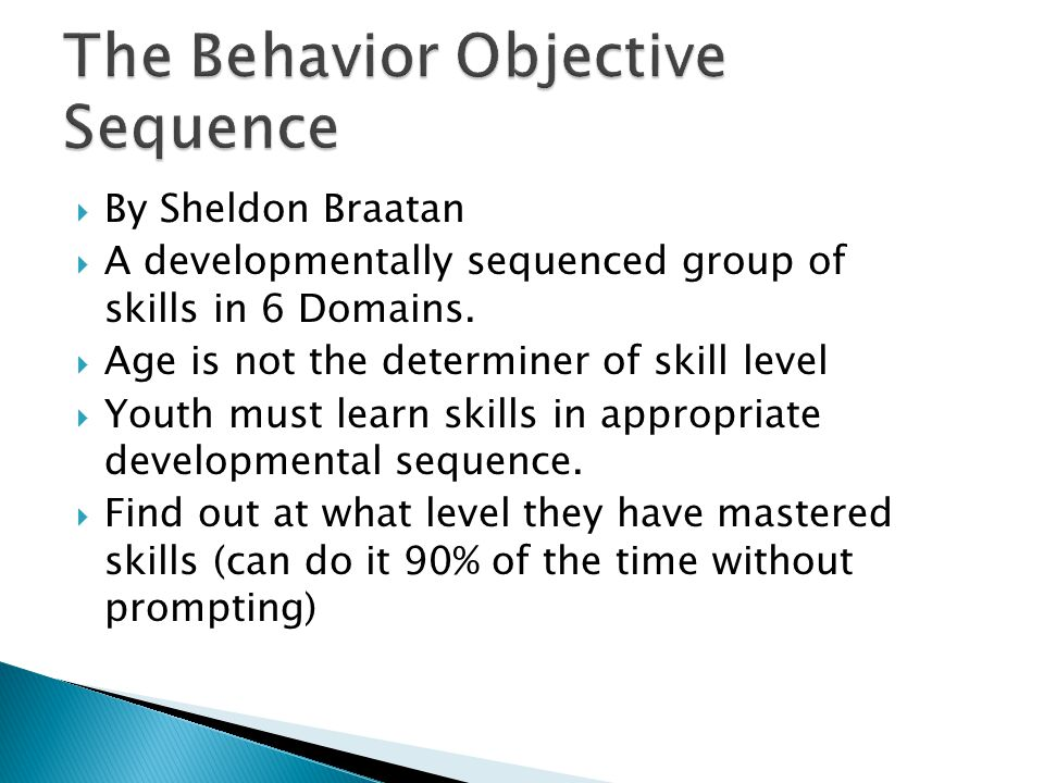 The Behavior Objective Sequence