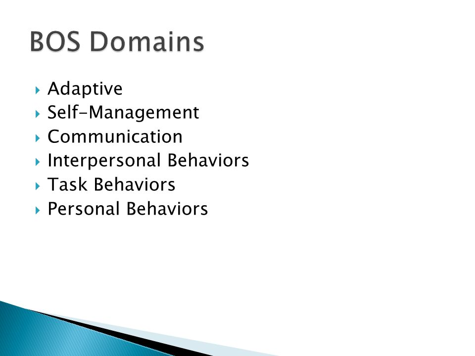 BOS Domains Adaptive Self-Management Communication
