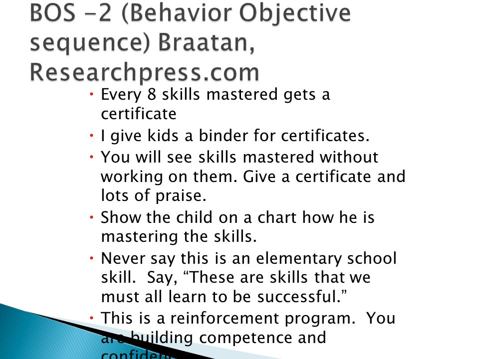 BOS -2 (Behavior Objective sequence) Braatan, Researchpress.com