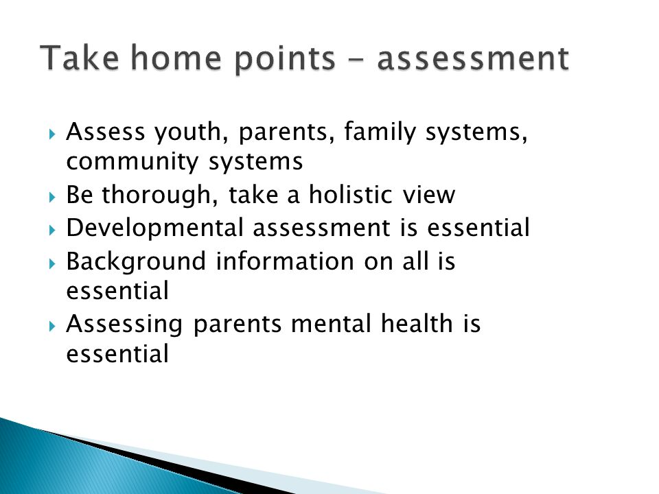 Take home points - assessment