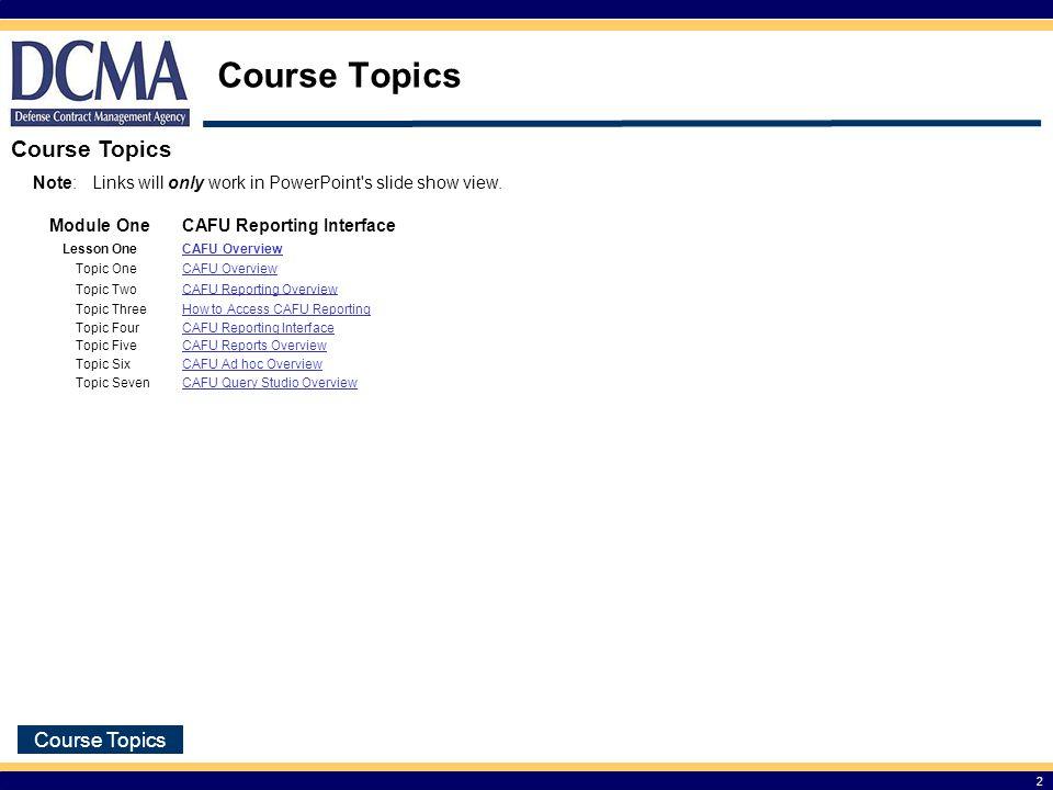 Course Topics Course Topics