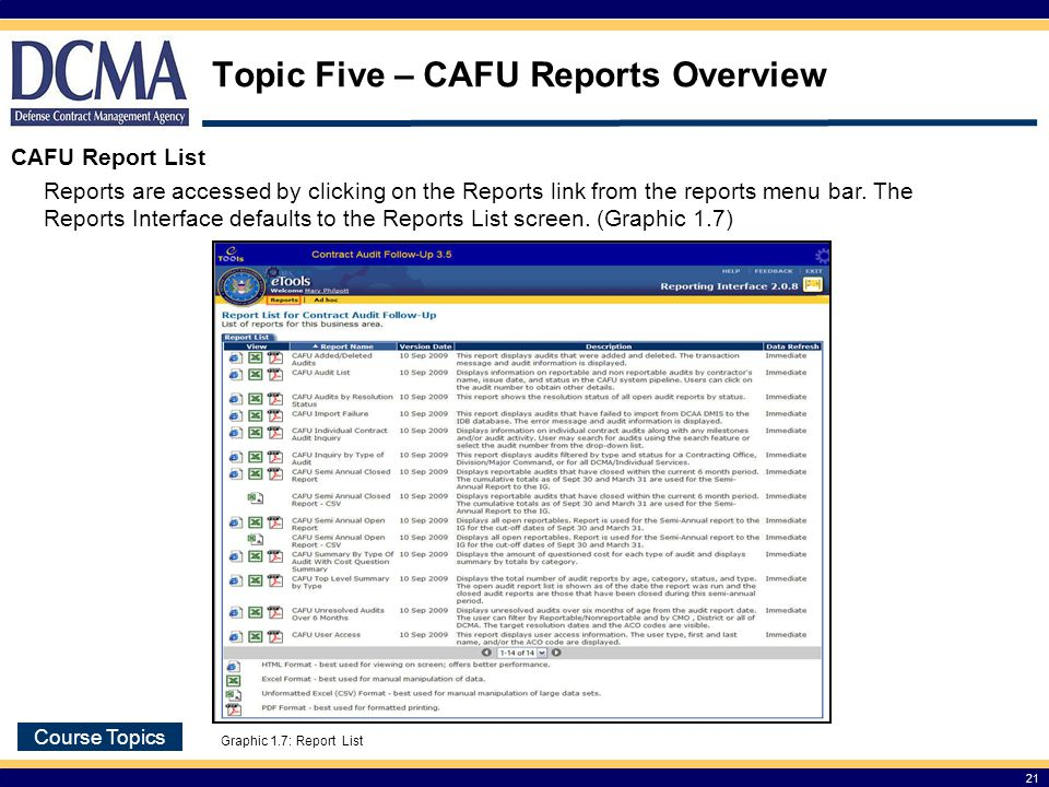 Topic Five – CAFU Reports Overview