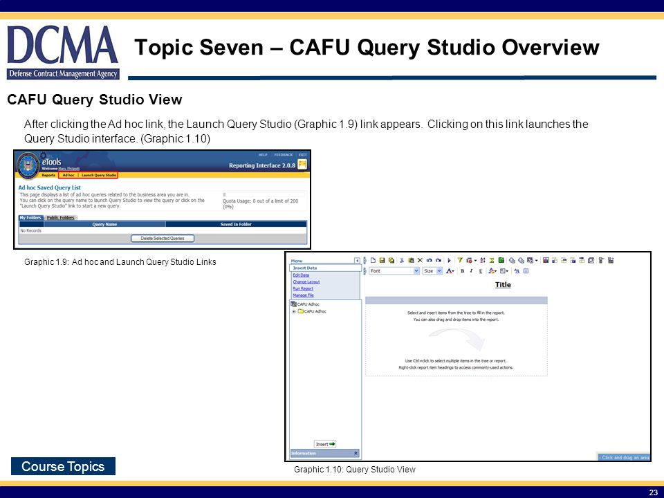 Topic Seven – CAFU Query Studio Overview