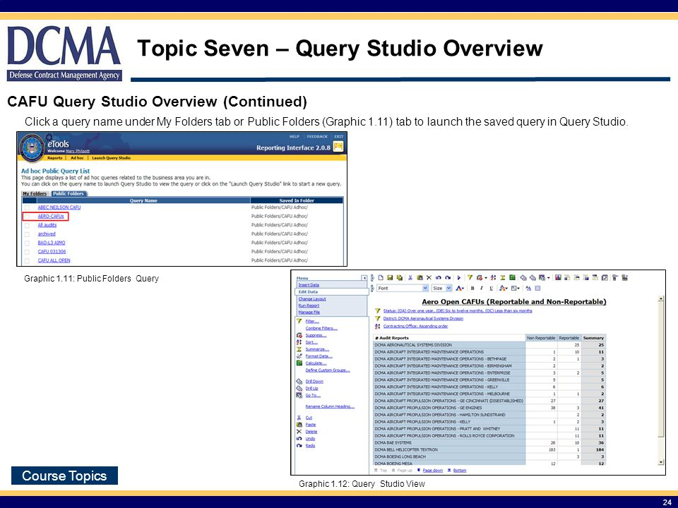 Topic Seven – Query Studio Overview