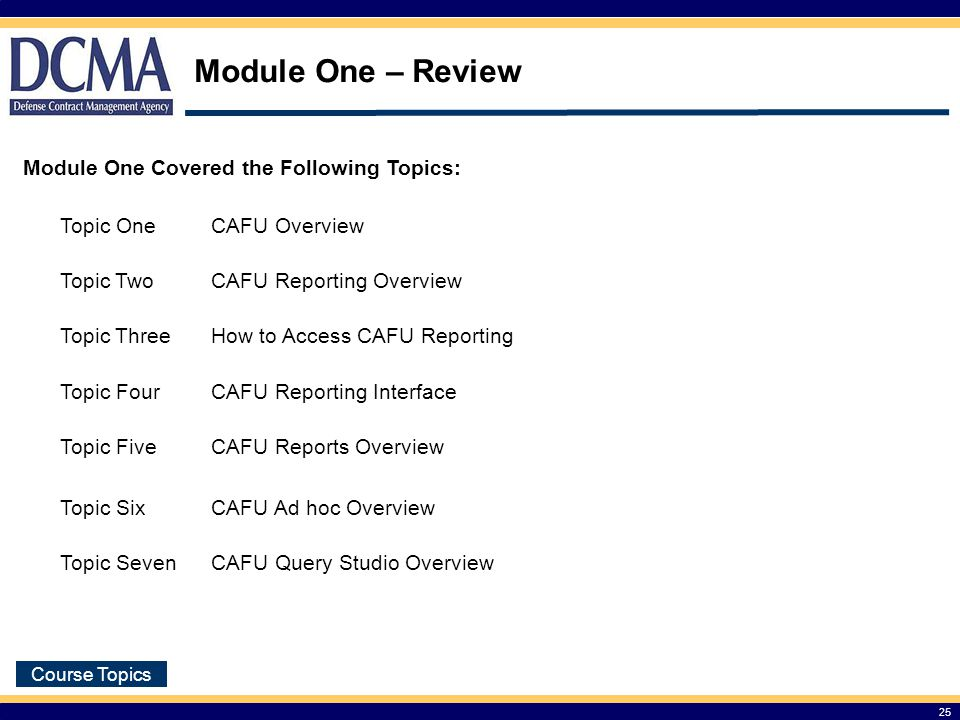 Module One – Review Module One Covered the Following Topics: Topic One