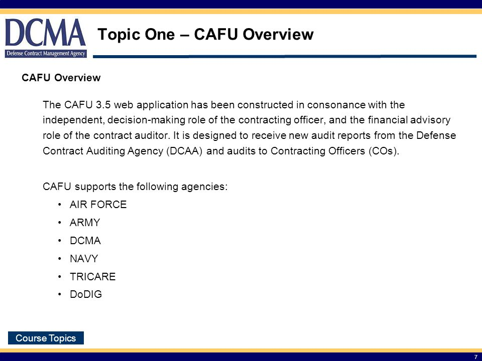 Topic One – CAFU Overview