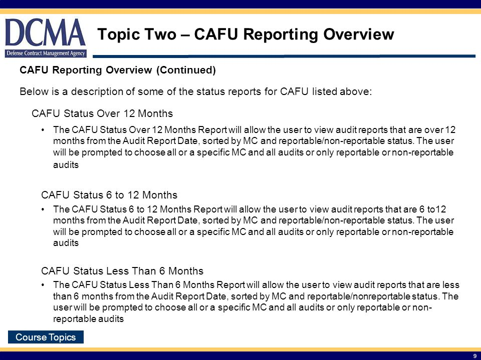 Topic Two – CAFU Reporting Overview