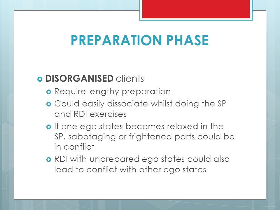 PREPARATION PHASE DISORGANISED clients Require lengthy preparation