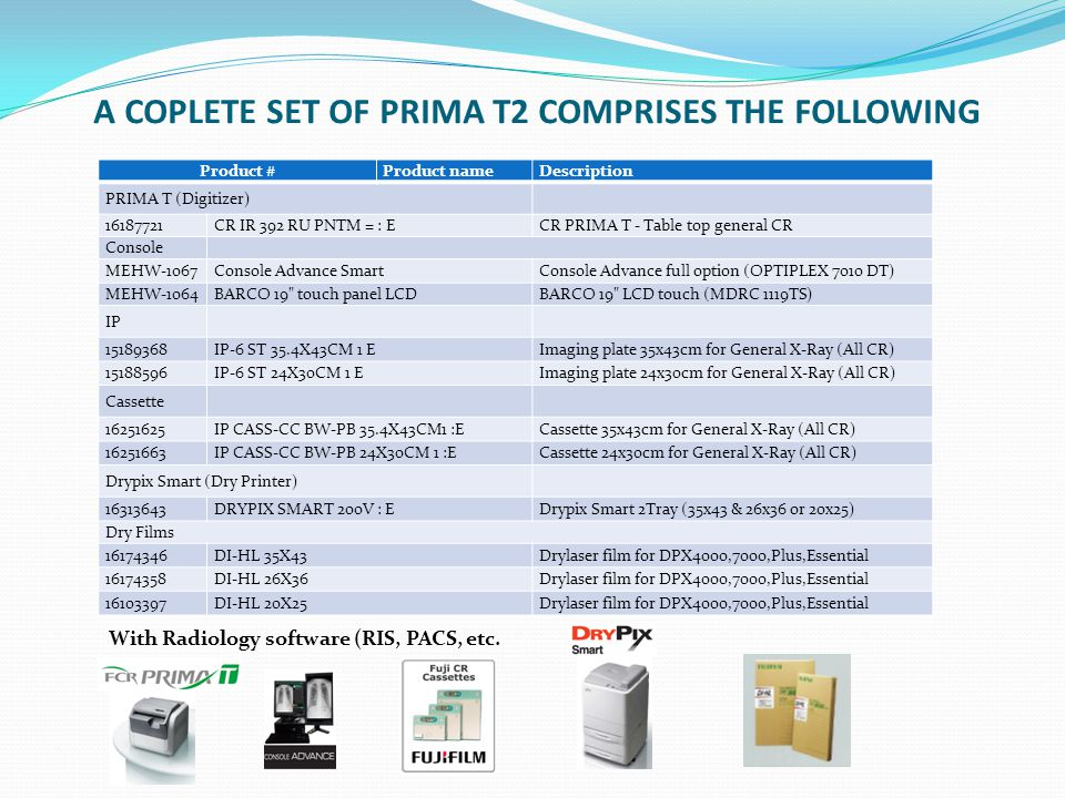 A COPLETE SET OF PRIMA T2 COMPRISES THE FOLLOWING
