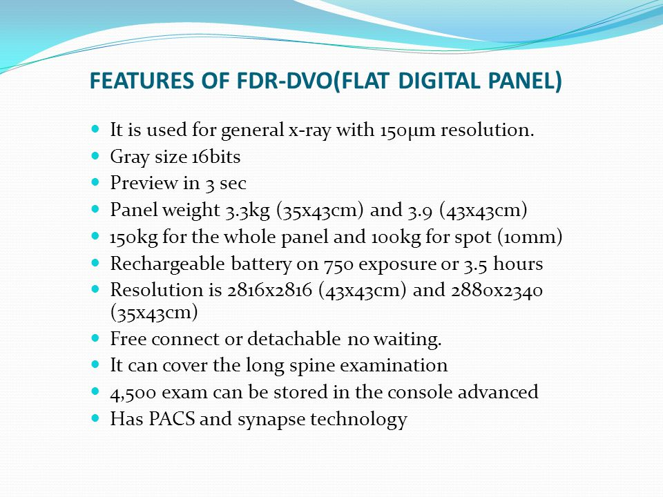 FEATURES OF FDR-DVO(FLAT DIGITAL PANEL)