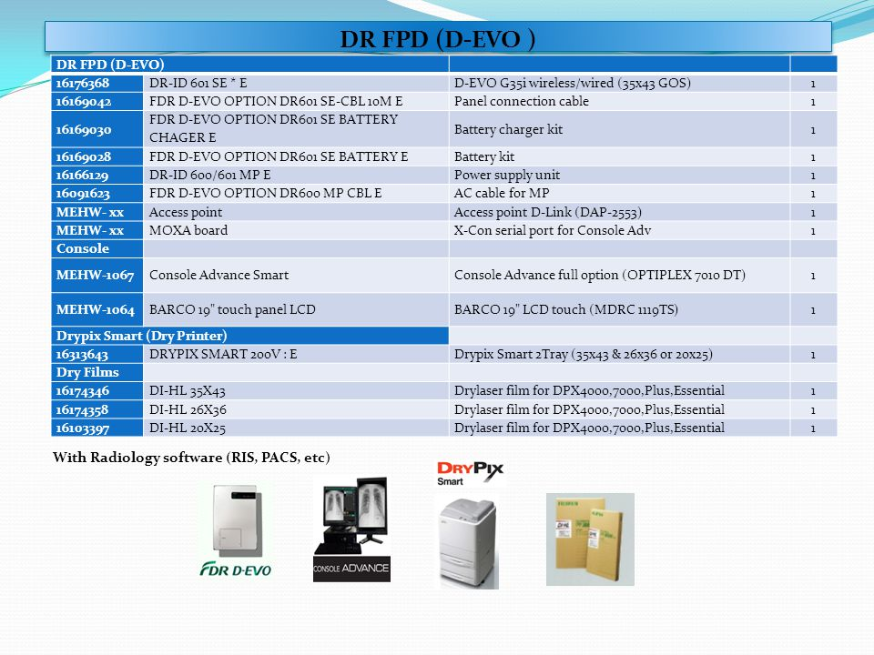 DR FPD (D-EVO ) With Radiology software (RIS, PACS, etc)
