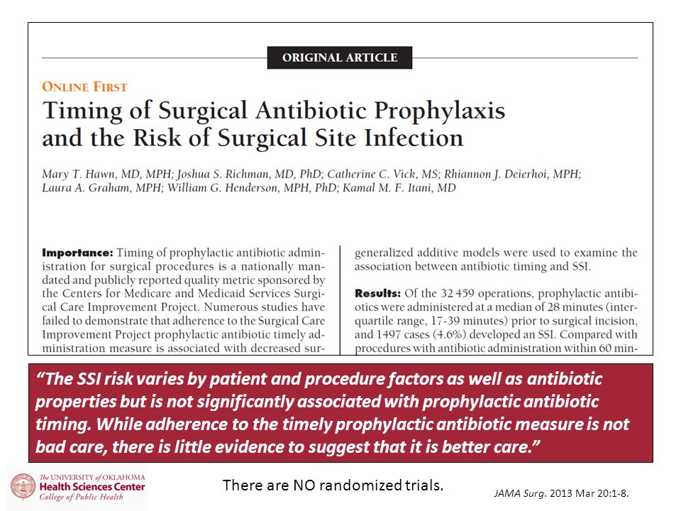 The SSI risk varies by patient and procedure factors as well as antibiotic properties but is not significantly associated with prophylactic antibiotic timing. While adherence to the timely prophylactic antibiotic measure is not bad care, there is little evidence to suggest that it is better care.