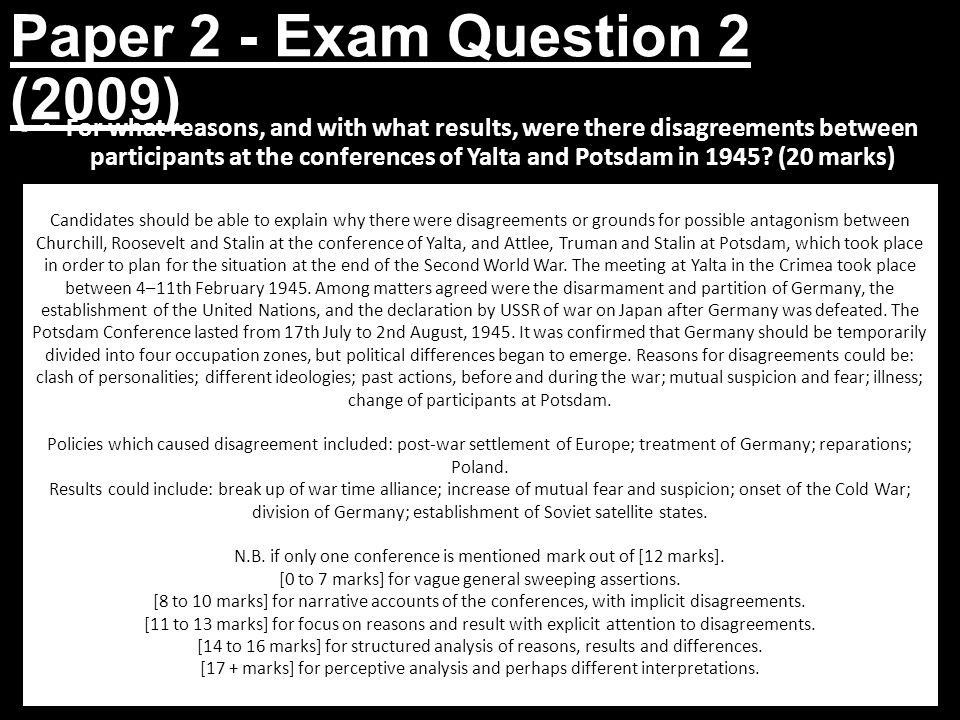 Paper 2 - Exam Question 2 (2009)