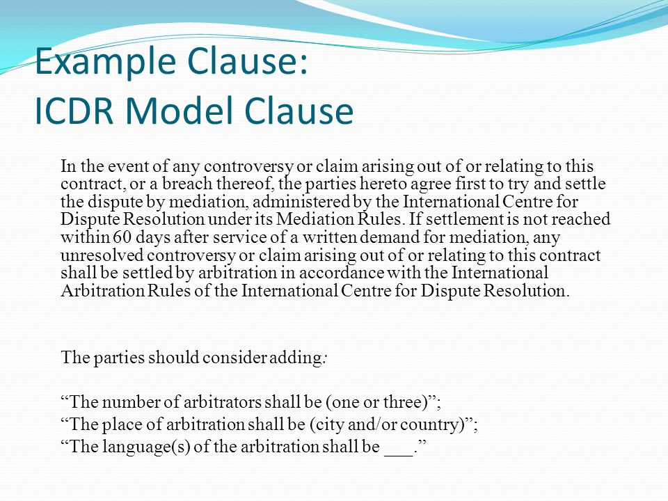 Example Clause: ICDR Model Clause
