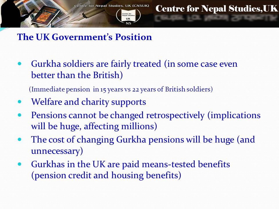 The UK Government's Position