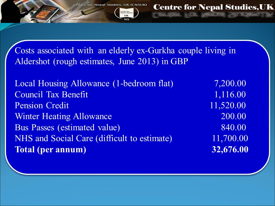 Costs associated with an elderly ex-Gurkha couple living in Aldershot (rough estimates, June 2013) in GBP