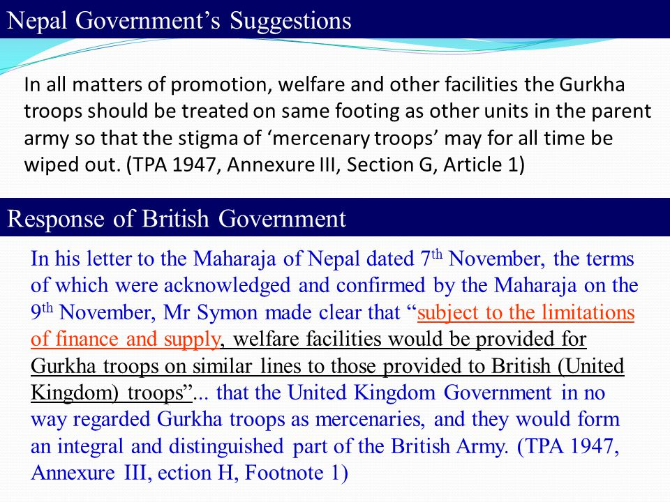 Nepal Government's Suggestions