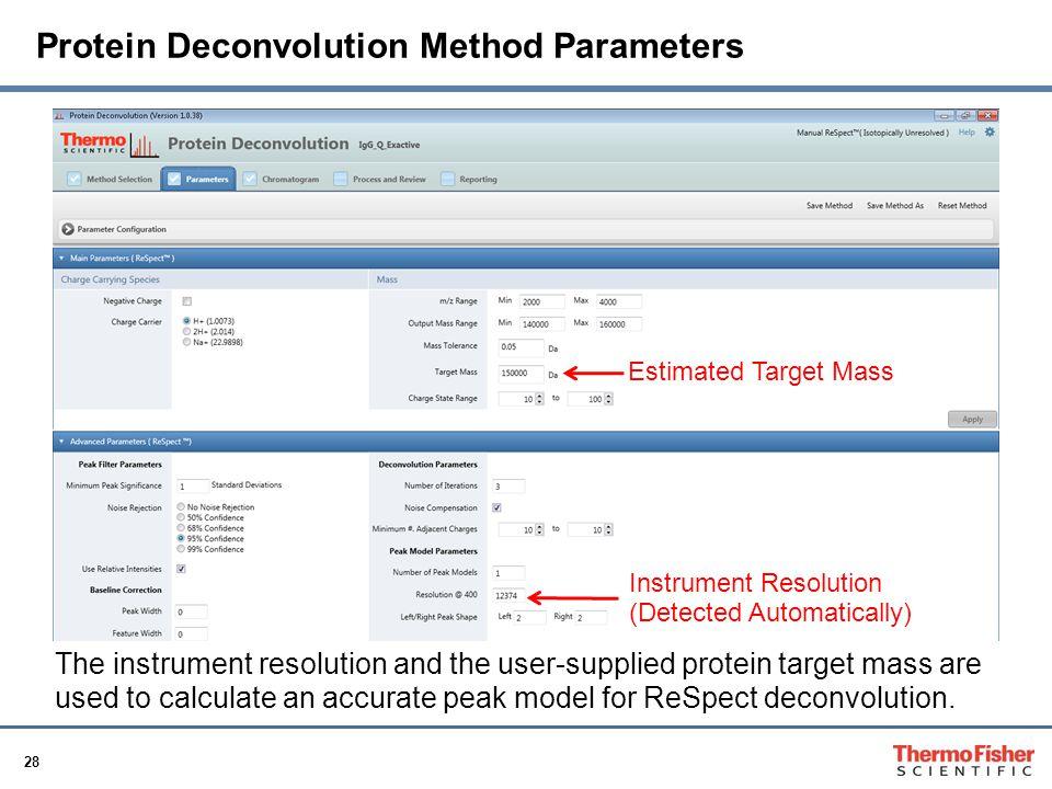 Protein Deconvolution Method Parameters