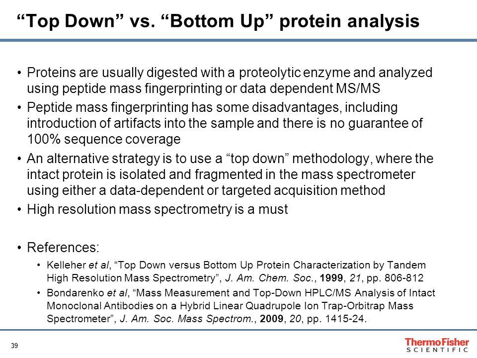 Top Down vs. Bottom Up protein analysis