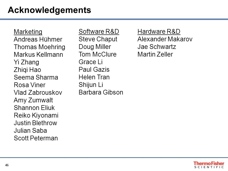 Acknowledgements Marketing Software R&D Hardware R&D Andreas Hühmer