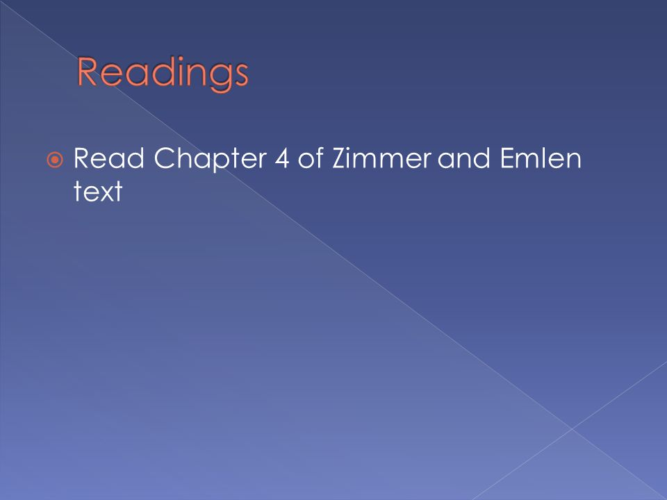 Readings Read Chapter 4 of Zimmer and Emlen text
