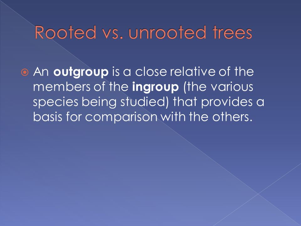 Rooted vs. unrooted trees